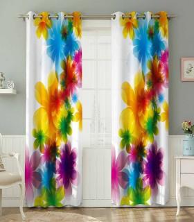 پرده کتان چاپی هازان طرح گلهای رنگین کد K1-230