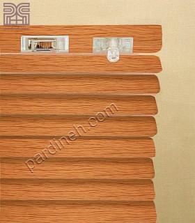 پرده کرکره فلزی 25 میلیمتری طرح چوب کد P-354