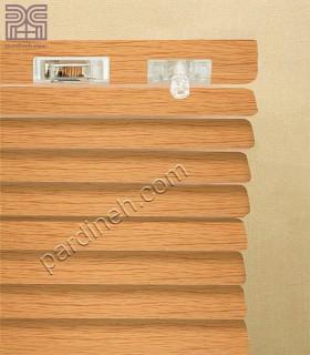 پرده کرکره فلزی 25 میلیمتری طرح چوب کد P-358