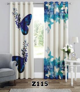 پرده هازان چاپی طرح پروانه آبی کد K1-236
