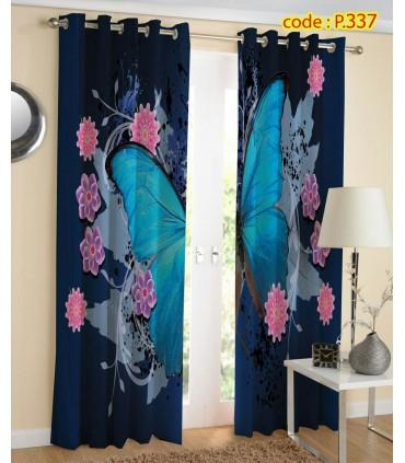 پرده کتان چاپی هازان طرح پروانه آبی کد k1-263