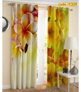 پرده کتان چاپی هازان طرح گل درشت زرد کد k1-278