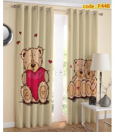پرده پانچ چاپی هازان طرح خرس عروسکی کد k1-320