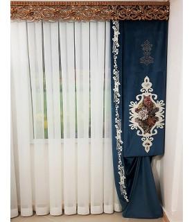 پرده پنلی طرح گلدانی رنگ آبی کدP-611