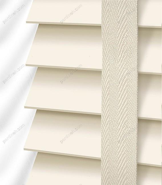 پرده کرکره چوبی 5 سانتیمتری رنگ سفید شیری