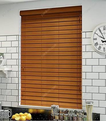 پرده کرکره چوبی 5 سانتیمتری رنگ قهوه ای سنتی کد Z1-132
