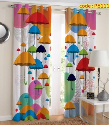 پرده کتان چاپی هازان طرح چترهای رنگی کد K1-327